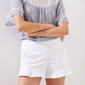 NWT [LOFT] BLOGGER FAV Ruffle Hem White Shorts